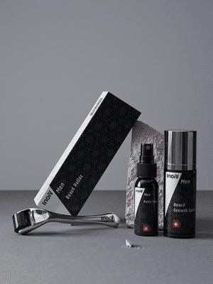 Inoiv Men - Ba0rtwuchs Set - Mit Beard Roller & Beard Growth Serum den Bartwuchs fördern